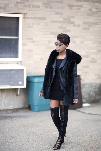 leather jacket Zara jacket - tony bianco boots - H&M dress