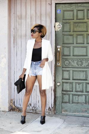 ivory Missguided blazer - cutoff denim Levis shorts - mules Aldo heels