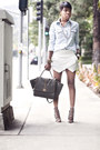 Denim-shirt-bcbgeneration-shirt-studded-bag-melie-bianco-bag