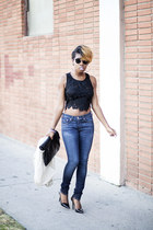 crop top luluscom top - rag & bone jeans - Theyskens Theory heels