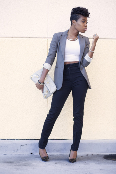 Theory blazer - American Apparel shirt - balenciaga bag - TheySkens Theory heels