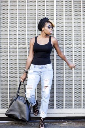 tank top H&M top - boyfriend jeans Missguided jeans - zeroUV sunglasses