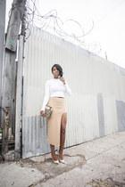 asymmetrical Missguided skirt - Jimmy Choo heels