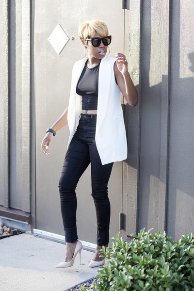 crop top asos top - jeans Uniqlo jeans - vest luluscom vest