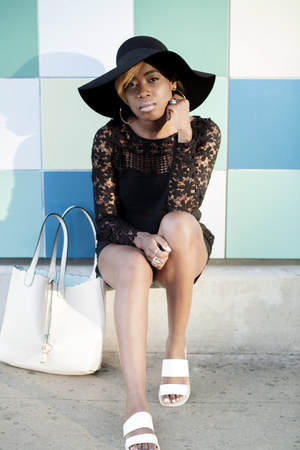 floppy hat H&M hat - luluscom bag - federal asos sandals - lace luluscom top