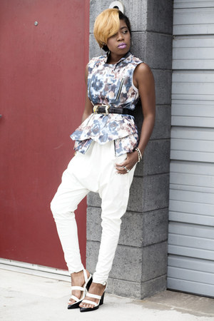 floral Ms Scandal vest - white sandals Missguided sandals