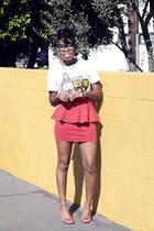 peplum Zara skirt - BAPE t-shirt - vintage sandals