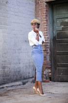denim asos skirt - H&M blouse - anouk Jimmy Choo pumps