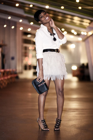 feather skirt luluscom skirt - studded clutch Forever 21 bag
