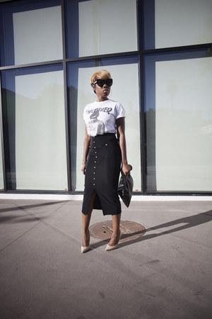 t-shirt Urban Outfitters t-shirt - H&M skirt - Jimmy Choo heels