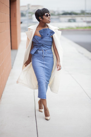 bustier cameo top - Missguided coat - heels Jimmy Choo heels - asos skirt