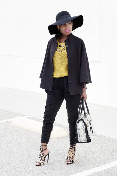 H&M coat - H&M sweater - H&M pants - leopard print Steve Madden heels