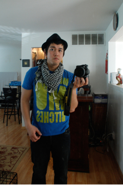 Urban Outfitters t-shirt - Metro Park hat - Metro Park scarf - Urban Outfitters