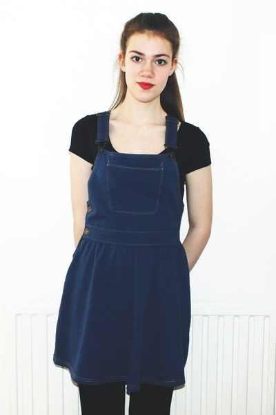 pinafore Matalan dress - black ribbed H&M tights - cropped new look t-shirt