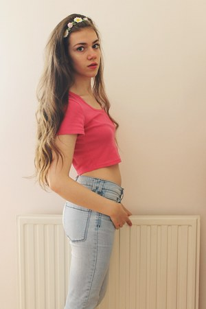 next jeans - crop American Apparel top - Claires hair accessory