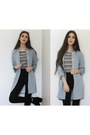 Topshop-boots-linen-zara-coat-striped-zara-top-american-apparel-pants