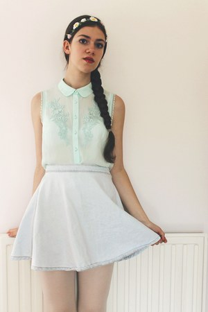 H&M blouse - American Apparel skirt - Claires hair accessory