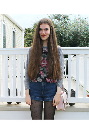 Urban Outfitters top - H&M tights - Topshop bag - American Apparel shorts