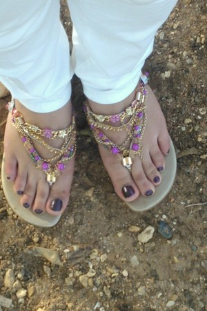 bubble gum metallic sandals