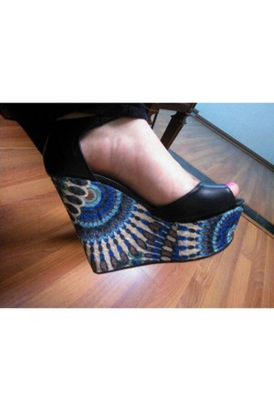 black leather manet wedges