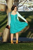 teal polka dot vintage dress - mustard vintage head scarf - mustard target crew