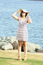 striped Forever 21 dress - neutral floppy Forever 21 hat - orange Urban Outfitte