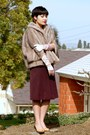 Light-brown-faux-fur-thrifted-vintage-cape-magenta-a-line-vintage-skirt