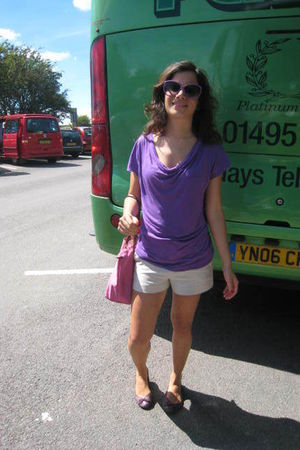 beige Forever New shorts - purple H&M shoes - purple top