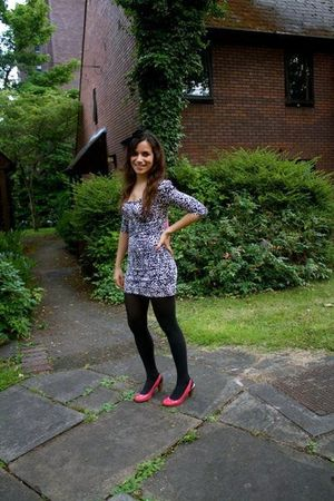 pink Marks&Spencer shoes - gray Bershka dress - H&M accessories