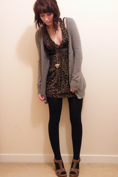 gray H&amp;M sweater - brown Topshop shoes - brown Miss Selfridges dress