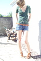 green American Apparel t-shirt - brown Nine West shoes - blue Topshop shorts