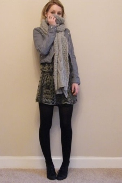 gray H&M jacket - black KG shoes - gray H&M dress