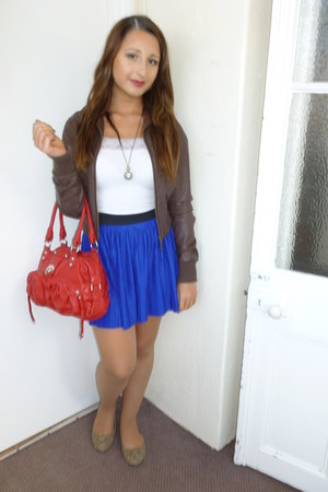 blue tezenis skirt - brown River Island jacket - red leather unknown bag