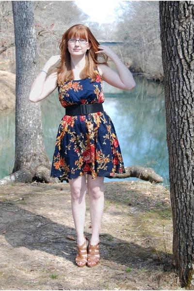 brown Nine West shoes - blue Target dress - black belt
