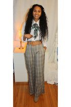 Ardene scarf - Ardene belt - thrifted blouse - Suzy Shier pants
