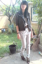 jacket - top - belt - jeans - shoes - bracelet