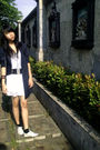 Blue-x-sml-blazer-gray-top-white-skirt-black-black-socks-white-shoes