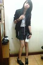 Mango blazer - top - skirt - shoes - Ripcurl purse - bracelet