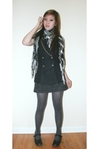 Express scarf - thrift vest - espirit dress - thrift tights - payless shoes