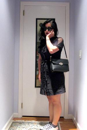 black thrifted bag - black EDUN dress - gray polka dot Forever 21 socks