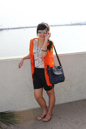 carrot orange scarf - dark gray vintage bag - black vintage sunglasses