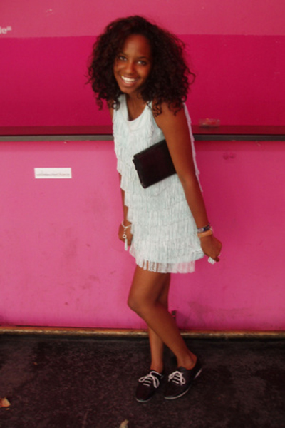 fringe dress H&M - leather shoes - - Furla