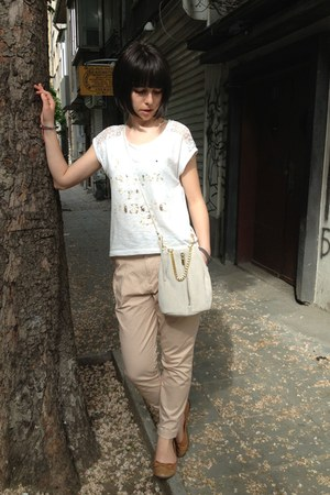 neutral Topshop bag - brown shoes - tan Zara pants - white blouse
