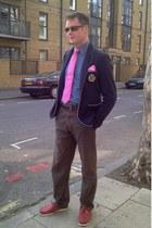 hot pink T M Lewin tie - navy Zara blazer - hot pink Hermes scarf