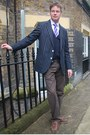 Brown-pants-navy-blazer-white-shirt-navy-cardigan-blue-tie