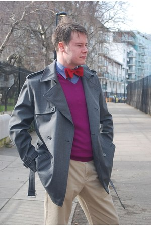 red Kurt Geiger shoes - heather gray jaeger coat - blue armani shirt