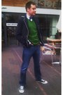 White-converse-shoes-navy-hugo-boss-jeans-navy-zara-men-blazer-forest-gree