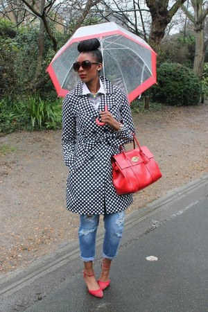 blue boyfriend asos jeans - mac spotted Long Tall Sally coat