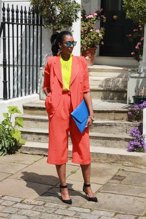 carrot orange cotton Front Row Shop blazer - blue clutch asos bag