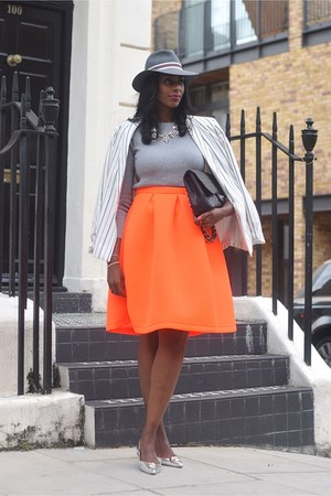 carrot orange airtex midi Topshop skirt - heather gray fedora Topshop hat